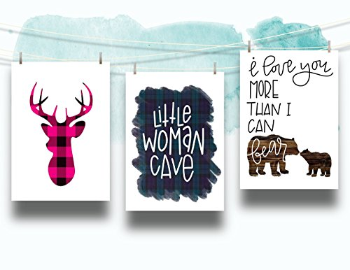 Three Piece Nursery Cardstock Prints 8.5 x11 Pink and Turquoise ''Woodland Animals'' by June & Lucy