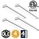 40W Linkable 4FT LED Wraparound Flushmount Shop Light 4000Lumens 5000K Super Bright Utility Ceiling Indoor Light for Commercial Offices Garages Workbench Hallways Closets pack of 4
