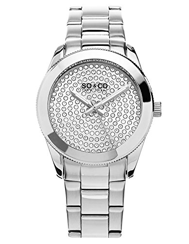SO&CO New York Women's 5067.1 Madison Quartz Crystal Filled Dial Stainless Steel Link Bracelet Watch ()