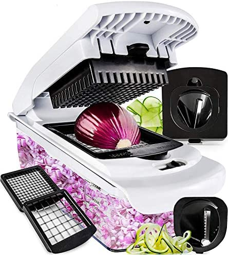 Vegetable Chopper – Spiralizer Vegetable Slicer – Onion Chopper with Container