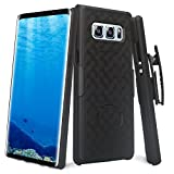 Samsung Galaxy Note 8 Case, Galaxy Note 8 Black Swivel Slim Belt Clip Holster Armor Protective Case, Defender Cover for Galaxy Note 8 (Black Holster Shell Combo) (Black)