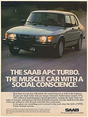1982 Saab 900 APC Turbo The Muscle Car with a Social Conscience Print Ad (Memorabilia