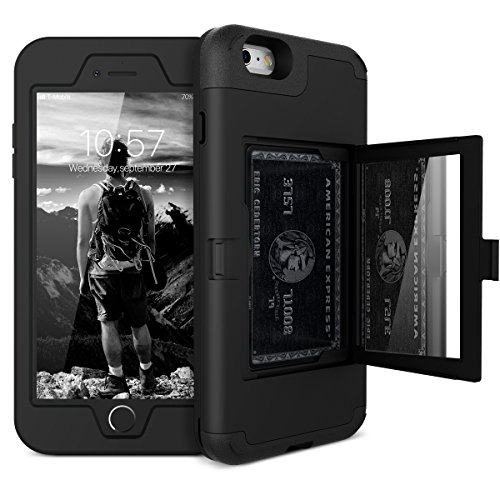 iPhone 6 Plus / 6s Plus Wallet Case - WeLoveCase Defender Wallet Case with Hidden Back Mirror and Card Holder Heavy Duty Protection Shockproof Armor Protective Case for iPhone 6S Plus - Black