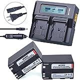 Batmax 2Pcs 8400mAh BP-970G,BP-975 Battery Packs + 3X Faster LCD Display Dual Charger Car Plug for Canon BP-970G Canon EOS C100, EOS C100 Mark II, EOS C300, EOS C300 PL, EOS C500, EOS C500 PL, GL2, XF