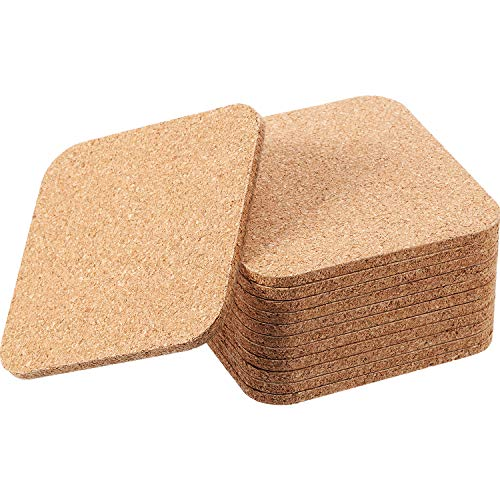 Boao Wooden Thick Cork Coasters, Cork Drink Coasters, Packs of 12 (5 mm, Square) -