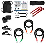 "FitCord ""BEGINNER"" Band Load Kits. American Made. Home & Portable Gym include 3 Highest Grade Safety Sleeve Bands, Handles, Door Anchor, Ankle & Wrist Straps, Bag & Exercise Manual. Lifetime Warranty."