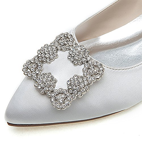 Loslandifen Scarpe Eleganti Da Donna Ballerine Pencested Toe (2046-06chouduan42, Argento)