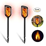 Cheap Solar Lights Outdoor-Flickering Flames Tiki Torch Lamp-Waterproof Security LED Solar Light Flame dancing Lighting,Dusk to Dawn Auto On/Off for Driveway/Yard /Lawn/ Garden (2 Pack Black)