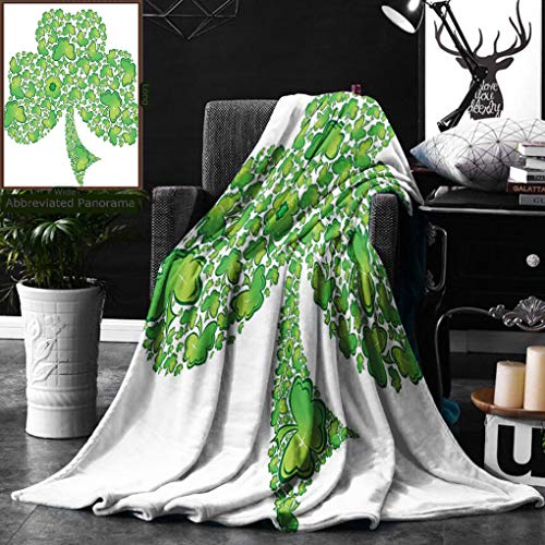 Unique Custom Double Sides Print Flannel Blankets Celtic Decor Collection Irish Shamrock Figure Made With Small Clover Patterns Holy Super Soft Blanketry for Bed Couch, Throw Blanket 40 x 60 Inches by Ralahome