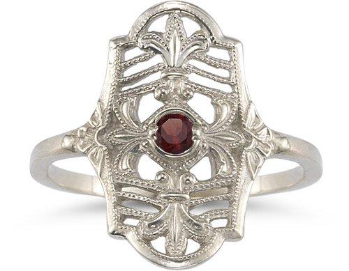 Vintage Fleur-de-Lis Garnet Ring in 14K White ()