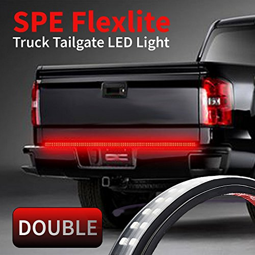 60-Inch 2-Row LED Truck Tailgate Light Bar Strip Red/White Reverse Brake Stop Turn Signal Parking Running Driving DRL Light for SUV RV Trailer Work Pickup
