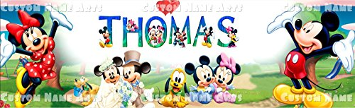Personalized Disney Mickey and Minnie Mouse Banner Birthday Poster Custom Name Painting Wall Art Decor -