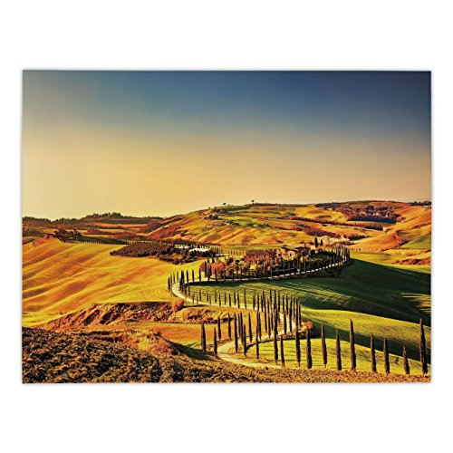 - Polyester Rectangular Tablecloth,Italy,Tuscany Crete Senesi Rural Landscape Cypress Trees Country Farmland Europe Decorative,Marigold Green Blue,Dining Room Kitchen Picnic Table Cloth Cover,for Outdoo