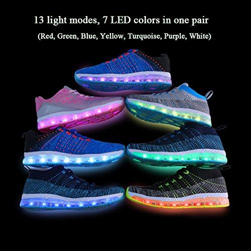 LED Blink Sport Schuhe 7 Farben Leuchtende Sneakers Light Up Turnschuhe USB Aufladen Leuchtschuhe Licht Laufschuhe Damen Herren Schwarz