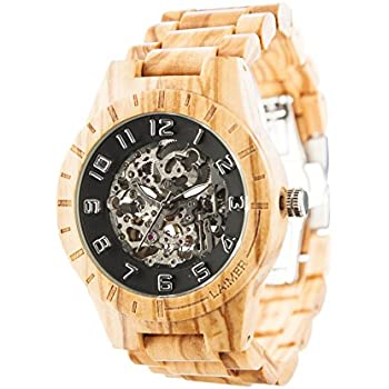 LAiMER Automatic Mens Wooden Watch RICK - Wrist Watch made of natural Olive Wood - Technique, Nature & Lifestyle
