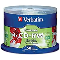 VER95159 - Verbatim CD-RW 700MB 2X-4X DataLifePlus Silver Inkjet Printable with Branded Hub - 50pk Spindle