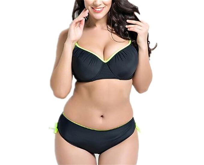 accae39a44687 xiaoyang Women's Plus Size Pleated Push up Two-Piece Swimsuit Swimwear  Bikini Set (Black