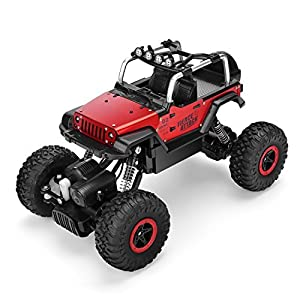 AHAHOO RC Cars 1/18 Remote Control Off-Road Vehicle 2.4GHz 4WD Monster Truck Rock Crawler High Speed Electric Racing Buggy with LED Light