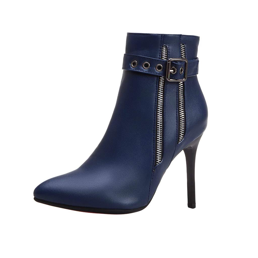 Dermanony Women's High Heel Boots Fashion Pointed Buckle Zipper Leather Boots Waterproof Platform Thin Heel Ankle Boots Blue by Dermanony _Shoes