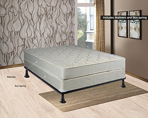 Continental Sleep, 9-Inch Gentle Firm Tight top Innerspring Mattress And Wood Traditional Box Spring/Foundation Set, Good For The Back, No Assembly Required, Queen Size 79
