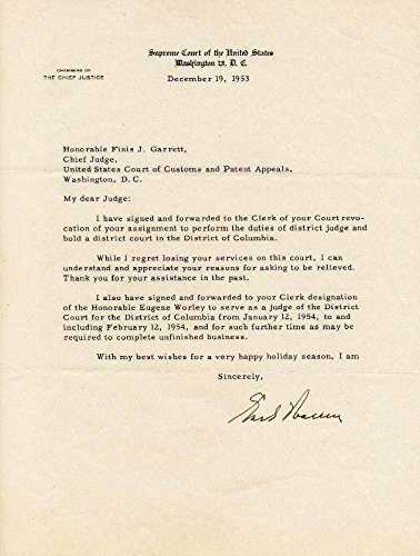 Chief Justice Earl Warren Typed Letter Signed 12/19/1953