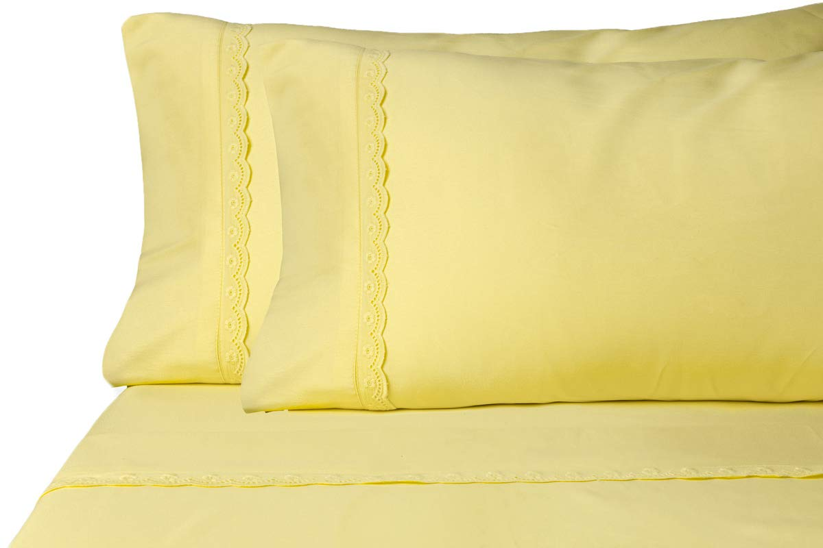 ViscoSoft Microfiber Deep Pocket Yellow Sheets - Elegant Eyelet Full Size 4-Piece Sheet Set -  LUXURY SHEET SETS WITH ELEGANT LACE EMBELLISHMENTS  Don't buy plain sheets, buy sheets with elegant embellished detail. The lace embellishment detail on the pillowcases and flat sheet, help give your sheet set the perfect amount of decoration to set them apart from plain sheets. ️ HIGH QUALITY MICROFIBER FOR SUPER SOFT FEEL ️ Our 100% polyester brushed microfiber imported sheet sets are made with the highest quality microfiber and craftsmanship to give them a silky soft feel that is durable. These super soft sheet sets were made to be wrinkle resistant, fade resistant, and stain resistant, so that your sheets will stay looking like new. ️ HYPOALLERGENIC DEEP POCKET SHEETS THAT STAY IN PLACE ️ Our hypoallergenic sheets have an anti-dust mite treatment and have easy care instructions making them allergen free! Featuring a 12-inch drop, these deep pocket sheets will stay in place all night long. - sheet-sets, bedroom-sheets-comforters, bedroom - 51hbebHoL5L -