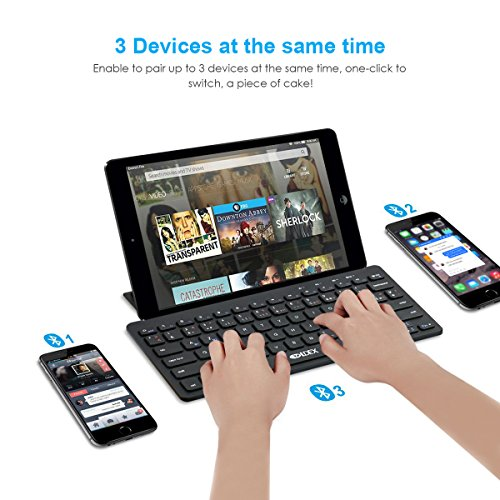 Multi-Devices Ultra-Slim Bluetooth keyboard with foldable magnetic stander for Android windows iOS , Design for PC Tablet Smartphone, black by Ldex (Image #2)