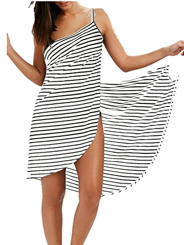 ZAFUL Women's Striped Beach Coverup Dress Swimsuits Spaghetti Strap Sexy Backless Bikini...