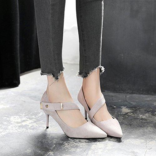 GAOLIM Los Tacones Altos Zapatos De Mujer En La Primavera De Punta Fina Con La Luz Del Muelle Único Zapatos, Solo Zapatos Negros Gris claro