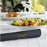 Hoffmaster FashnPoint CaterWrap Metallic Cutlery and Black Dinner Napkin, 15 1/2 x 15 1/2 inch - 50 per pack - 2 packs per case.