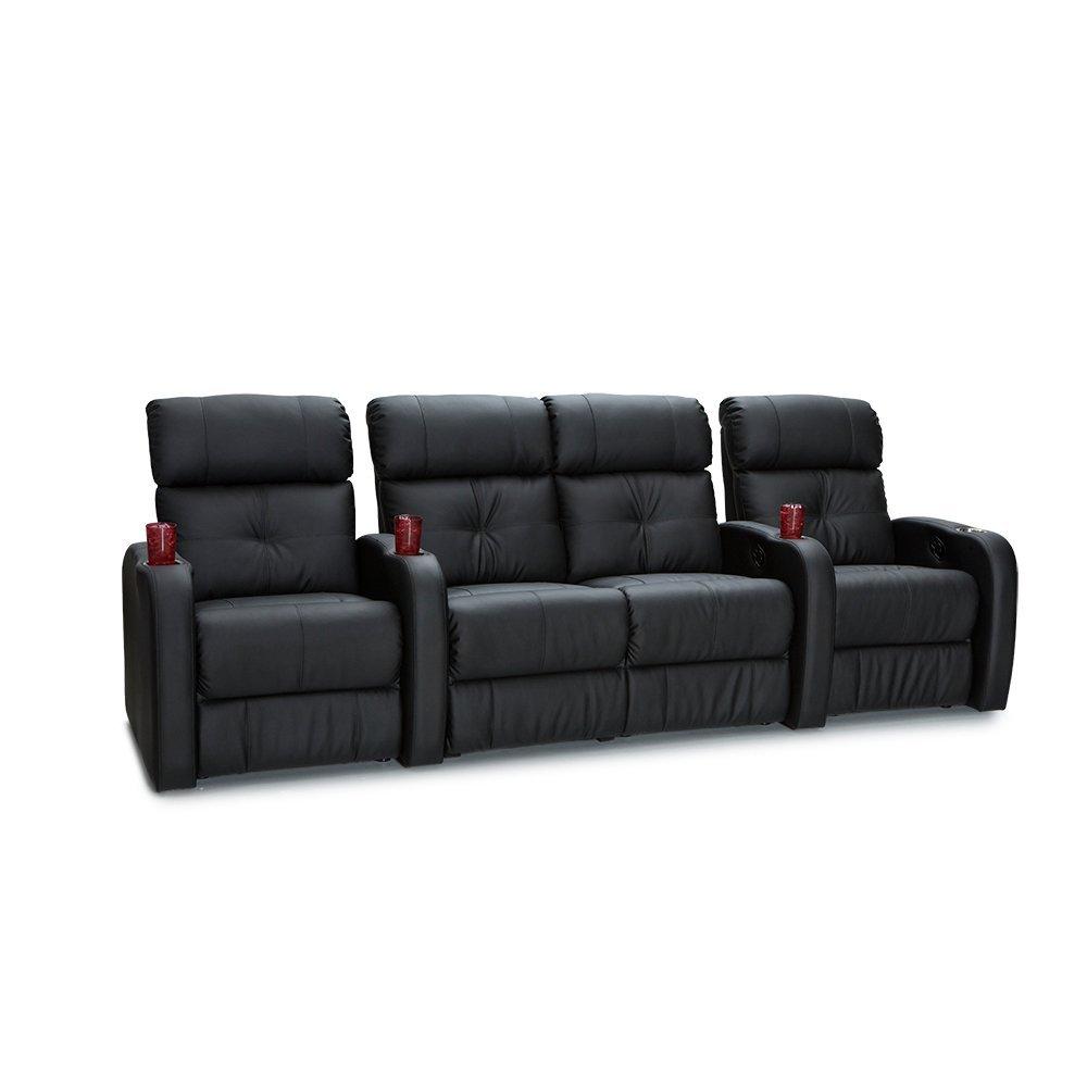Palliser Terra Polyurethane Home Theater Seating Leather Manual Recline - (Row of 4,w/ Center Loveseat, Black)
