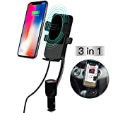 Cigarette Lighter Car Mount,3-In-1 Wireless Charging & Car Phone Holder & Dual USB Charger,LED Display Voltage Current for iPhone 5S 6 7 8 X,Samsung S5 S6 S7 S8 [Black]