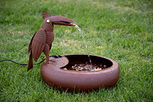 Fountain Heater - Alpine Corporation Metal Toucan Fountain - Outdoor Water Fountain for Garden, Patio, Deck, Porch - Yard Art Decor