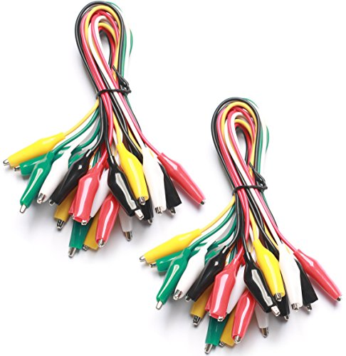 Plated Alligator (WGGE WG-026 20 Pieces and 5 Colors Test Lead Set & Alligator Clips, 20.5 inches)