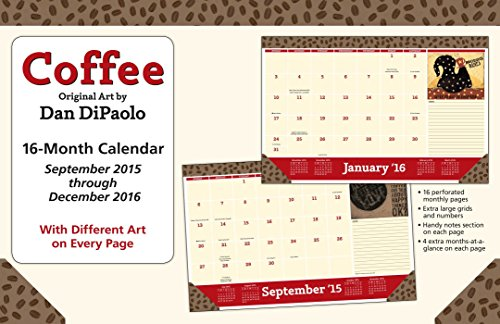 Coffee 2015-2016 16-Month Desk Pad Calendar: September 2015 through December 2016