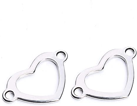 10pcs Stainless Steel Silver Heart Jewelry Connectors Findings Supplies