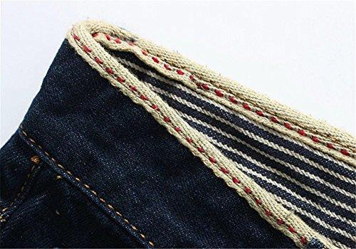 HENGAO Mens Ripped Holes Mid Rise Washed Denim Shorts