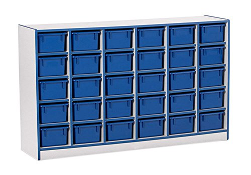 Offex Children Classroom Organizer 30 Cubbie-Tray Mobile Storage Unit with Trays - -