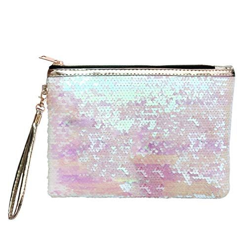 Ayliss Women Sequin Envelope Handbag Party Clutch Makeup Bag Reversible Glitter Paillette Cosmetic Pouch (Pink+White)