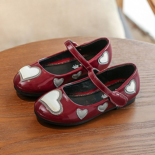 T-JULY Summer Girls Mary Jane Shoes Love Heart Ballet Flat with Strap (Toddler/Little Kid/Big Kid) Wine Red by T-JULY (Image #4)
