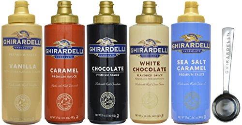 Caramel Vanilla Fudge - Ghirardelli - 16 Ounce Black Label, 16 Ounce Vanilla, 17 Ounce White, 17 Ounce Caramel, 17 Ounce Sea Salt Caramel Flavored Sauce (Set of 5) - with Limited Edition Measuring Spoon