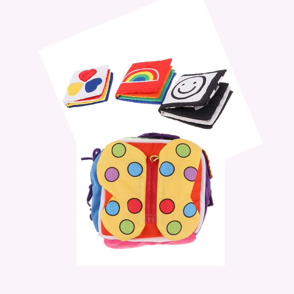 Homyl 4pcs Montessori Baby Cloth Books & 6 in 1 Basic Life Skills Cube, High-Contrast Visual Educational Toy Lace Zip Snap Button Buckle Tie Puzzle