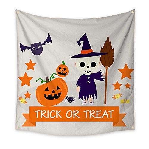 BlountDecor Gorgeous Tapestry Halloween Background with Lovely Costumes 47W x 47L Inch