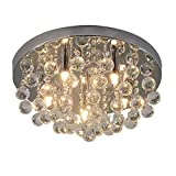RH RUIVAST Chandeliers Ceiling Light Crystal Chandelier Lighting 5 G9 Lamps, H13.78''x W7.28'' Simple Style Modern Ceiling Lamp Suitable for Living Room, Dining Room, Bedroom.