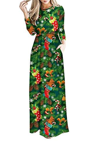 Meenew Women's Funny Xmas Gift Empire Waist Casual Christmas Long Maxi Dress S ()