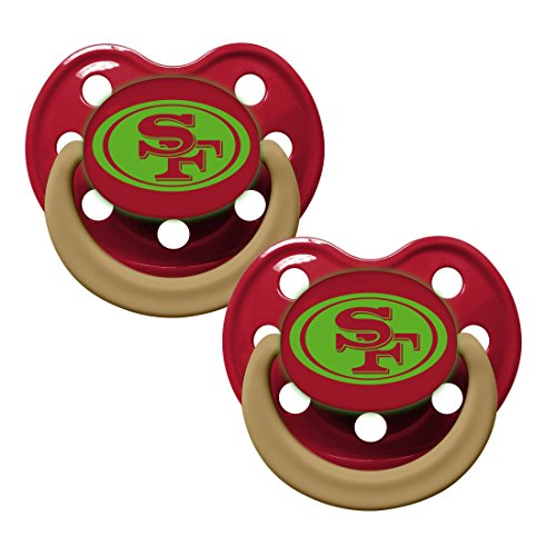 NFL Football Team Logo Baby Infant Glow In The Dark Pacifier 2-Pack (San Francisco 49ers)