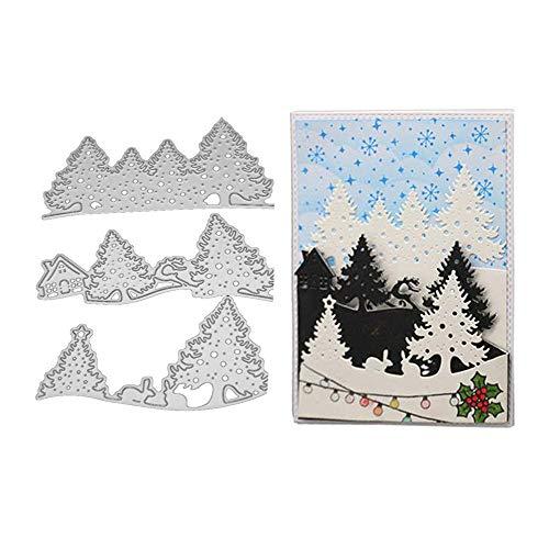 Fellibay Christmas Tree Dies for Card Making DIY Scrapbook Supplies Metal Die Cuts for Christmas Gift Cards 3 Pack