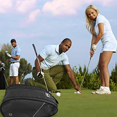Golf Shoe Bag Travel Sport Gym Yoqa Sock Organizer Odor Resistant Large Zipper Space Shoe's Bag for Men and Women (Black) by skyvlv (Image #6)