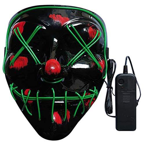 Nuoka Halloween Custome Cosplay Scary Led Mask Frightneing EL Wire Light Up Mask (Green) ()