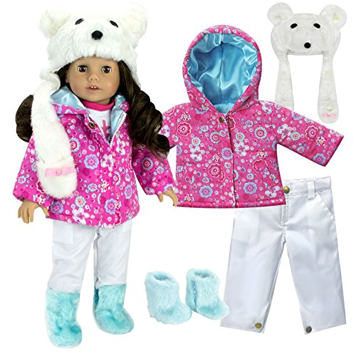 Complete 18 Inch Doll Winter Outfit Set with Polar Bear Hat, Floral Print Parka, Snowboard Pants and Aqua Fur Boots. Fits American Girl Dolls & More! Doll Clothes Polar Bear Set by Sophia's from Sophia's